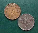 Норвегия 5 эре 1941 и 1953 г. 2 шт., фото №2