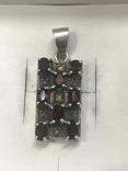 Кулон натуральный камень Гранат серебро, фото №2