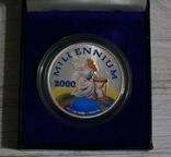 Либерия 20 долларов 2000 - МИЛЛЕНИУМ - серебро 999, цветная эмаль, унция, фото №5