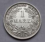 1 марка 1914 г. (J) Германия, серебро, фото №2