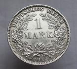 1 марка 1914 г. (J) Германия, серебро, фото №4