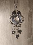 Кулон с горным хрусталём и серебряной цепочкой, фото №2