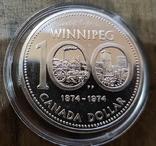 Канада 1 доллар 1974 г. Серебро. 100-летие города Виннипег., фото №2