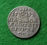 Трояк Рига, 1592року. Срiбло, (Аg) 2.32 грамма., фото №2