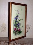 Картина Ирисы и стрекоза, ручная вышивка крестом, фото №3