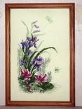 Картина Ирисы и стрекоза, ручная вышивка крестом, фото №5