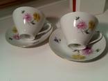 Кофейные пара (2/2 чашки, блюдца). Костяной фарфор. Германия GDR, фото №4