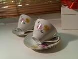 Кофейные пара (2/2 чашки, блюдца). Костяной фарфор. Германия GDR, фото №5