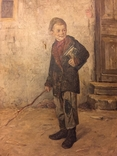 """Картина Л.В.Попова """"Мальчик с книгами и прутом"""" 1900 г., фото №3"""