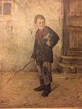 """Картина Л.В.Попова """"Мальчик с книгами и прутом"""" 1900 г., фото №4"""