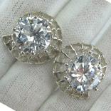 Новые Серебряные Серьги Сережки Крупные Камни 12 мм Английская Застежка 925 проба 143, фото №2