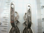 Серебряные Серьги Сережки Длинные Камни Английская Застежка 925 проба Серебро 139, фото №8