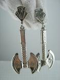 Новые Серебряные Серьги Сережки Секиры Кельтский Узел Английская Застежка 925 проба 145, фото №3