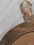Кулон медальон серебро 800 пробы з позолотою, фото №6
