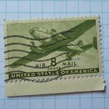 Марка.США.1941-1944 Двухмоторный транспортный самолет, фото №3