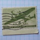 Марка.США.1941-1944 Двухмоторный транспортный самолет, фото №4