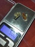 Запонки с натуральным коричневым камнем 875, фото №2