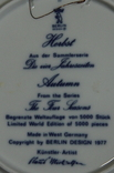 "Набор декоративных тарелок ""Времена года"" Berlin Design 1977 год, фото №4"