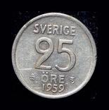 Швеция 25 эре 1959 серебро, фото №3