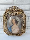 Старая бронзовая рамка с миниатюрой Италия, фото №2