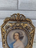 Старая бронзовая рамка с миниатюрой Италия, фото №7