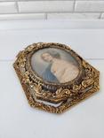 Старая бронзовая рамка с миниатюрой Италия, фото №9