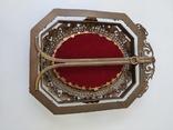 Старая бронзовая рамка с миниатюрой Италия, фото №11