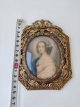 Старая бронзовая рамка с миниатюрой Италия, фото №13