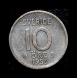 Швеция 10 эре 1953 серебро, фото №2