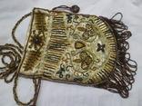 Сумочка в винтажном стиле. Расшивка бисером и бисерная бахрома, фото №8