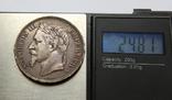 5 франков 1868 Франция. Серебро 24.81г, фото №4