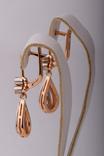 Золотые серьги 583 пробы с бриллиантами, фото №5