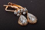 Золотые серьги 583 пробы с бриллиантами, фото №2