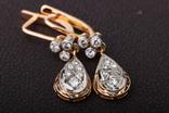 Золотые серьги 583 пробы с бриллиантами, фото №7
