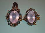 Гарнитур - натуральный розовый кварц, изумруды и опалы, фото №3