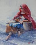 """Картина """"Цыганка с корзиной"""" акварель, бумага. photo 1"""