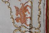 Старинная скатерть с ручной вышивкой - драконы или грифоны., фото №6