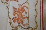 Старинная скатерть с ручной вышивкой - драконы или грифоны. photo 9