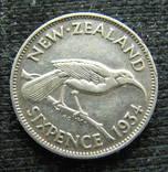 6 пенсов Новая Зеландия Георг V 1934г., серебро