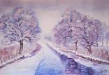Грациозная зима - акварельный пейзаж / Graceful winter - watercolor landscape