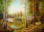"""""""Озеро в Диком лесу"""". 67,5х50 В.Хомяк 2016г."""