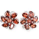 Серьги серебряные 925 природный красно - оранжевый гранат.