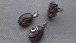 Кольцо и серьги серебро 875, золото 375