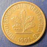 1 пфенінг Німеччина 1991 J, фото №2