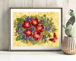 Цветочная фантазия, композиция из засушенных цветов и листьев photo 1