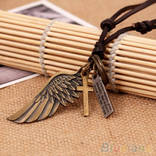 Кожанный шнурок с кулонами крыло ангела