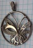 Кулон  серебро +золото, фото №2
