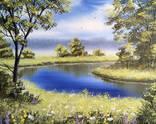 Картина Летним днем у реки 50х40 см, живопись на холсте, маслом, оригинал