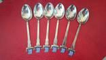 Набор ложечек с эмалями 925 пробы, фото №2