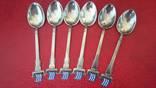 Набор ложечек с эмалями 925 пробы, фото №3